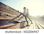 fitness  sport  exercising and... | Shutterstock . vector #602206967
