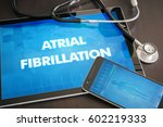 Small photo of Atrial fibrillation (heart disorder) diagnosis medical concept on tablet screen with stethoscope.