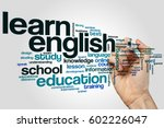 Small photo of Learn english word cloud concept on grey background