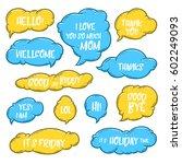 set of cute handdrawn cloud... | Shutterstock .eps vector #602249093