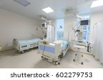 Stock photo modern equipped hospital room with two empty beds 602279753