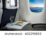 food served on board of economy ... | Shutterstock . vector #602290853