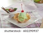 crispy basket with avocado ice... | Shutterstock . vector #602290937