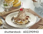 banana pancake with ice cream... | Shutterstock . vector #602290943