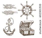sailor equipment set hand draw... | Shutterstock .eps vector #602301533