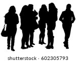 big crowds people on white...   Shutterstock .eps vector #602305793