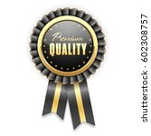 gold premium quality badge... | Shutterstock .eps vector #602308757