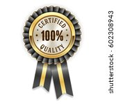 gold certified quality badge... | Shutterstock .eps vector #602308943