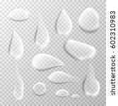 transparent water drop set on...   Shutterstock .eps vector #602310983