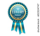 gold luxury product with blue... | Shutterstock .eps vector #602324747
