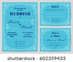 set of wedding cards in retro... | Shutterstock .eps vector #602359433