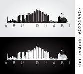 abu dhabi skyline and landmarks ... | Shutterstock .eps vector #602359907