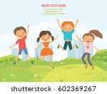 happy jumping children in the... | Shutterstock .eps vector #602369267