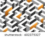 black  white and orange maze ... | Shutterstock .eps vector #602375327