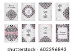save the date. set of postcards ...   Shutterstock .eps vector #602396843