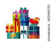 gift boxes over white...   Shutterstock .eps vector #602404253