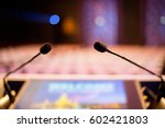 microphone conference event... | Shutterstock . vector #602421803