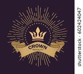 golden crown vector. line art... | Shutterstock .eps vector #602424047
