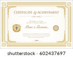certificate of achievement or... | Shutterstock .eps vector #602437697