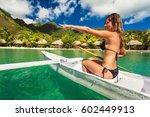 woman kayaking in the ocean on... | Shutterstock . vector #602449913