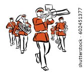 red colored marching band... | Shutterstock .eps vector #602451377