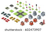 set isometric road and vector... | Shutterstock .eps vector #602473907