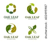 oak leaf vector logo set. logo... | Shutterstock .eps vector #602495987