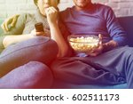 couple watching tv home relax... | Shutterstock . vector #602511173