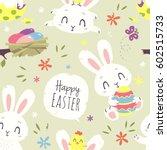 vector easter bunny seamless... | Shutterstock .eps vector #602515733