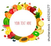 round label with fruits  banana ... | Shutterstock .eps vector #602525177