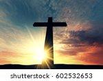 religious cross silhouette... | Shutterstock . vector #602532653