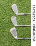 top view row of golf club on... | Shutterstock . vector #602541983