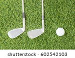 sport objects related to golf... | Shutterstock . vector #602542103