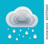 paper art cartoon rain clouds... | Shutterstock .eps vector #602555663