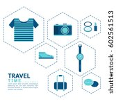 time to travel vector flat... | Shutterstock .eps vector #602561513