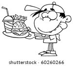 outlined boy with fast food | Shutterstock .eps vector #60260266