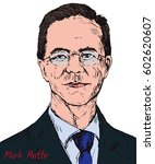 Mark Rutte, Dutch politician, Prime Minister of Netherlands since 2010, Leader of People's Party for Freedom and Democracy, hand drawn color pop art style vector illustration, illustrative editorial | Shutterstock vector #602620607