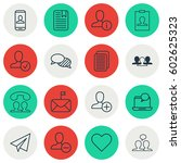 set of 16 social network icons. ... | Shutterstock .eps vector #602625323