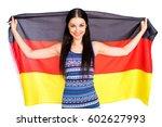 young beautiful brunette woman... | Shutterstock . vector #602627993