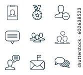 set of 9 social network icons.... | Shutterstock .eps vector #602638523
