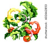 flying salad with pepper ... | Shutterstock . vector #602662853