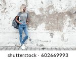 Hipster Girl Wearing Blank Gra...