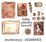 vintage brown set. photo  gift... | Shutterstock . vector #602680403