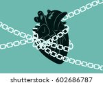 anatomical human heart wrapped... | Shutterstock .eps vector #602686787