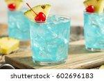 refreshing blue hawaii cocktail ...   Shutterstock . vector #602696183
