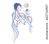 japanese woman and bird vector. ... | Shutterstock .eps vector #602710907