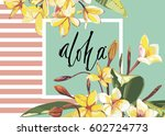 floral frame with plumeria... | Shutterstock .eps vector #602724773