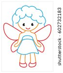 vector coloring book of fairy   Shutterstock .eps vector #602732183