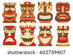 collection of tiki tribal mask. ... | Shutterstock .eps vector #602739407