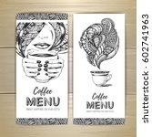 coffee menu design. decorative... | Shutterstock .eps vector #602741963
